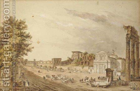 The Via Sacra by (after) Claude Louis Chatelet - Reproduction Oil Painting