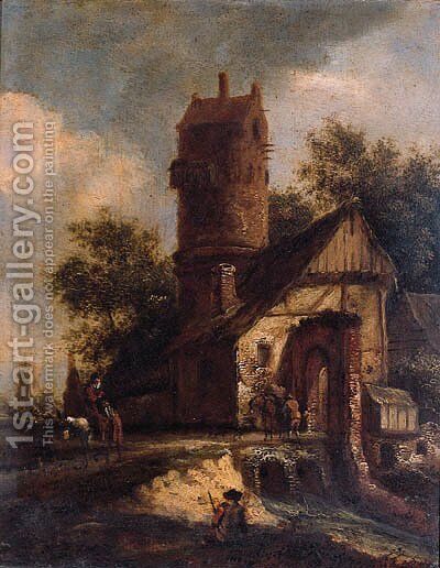 Travellers crossing a torrent by a fortified farmhouse near a dovecote by (after) Roelof Van Vries - Reproduction Oil Painting