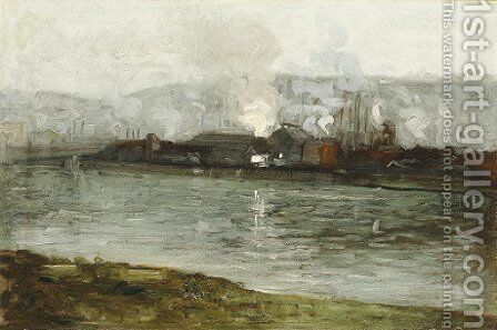 Factory at the River by (after) Aaron Harry Gorson - Reproduction Oil Painting
