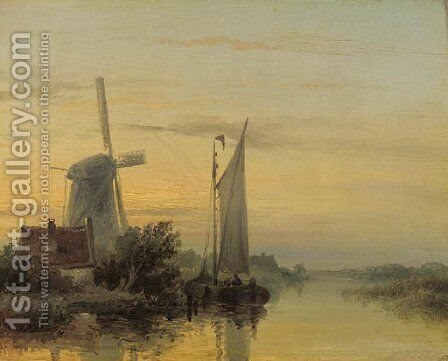 A moored sailing vessel by a windmill at sunset by (after) Abraham Snr Hulk - Reproduction Oil Painting