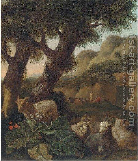 A wooded landscape with sheep and figures resting by (after) Abraham Jansz Begeyn - Reproduction Oil Painting
