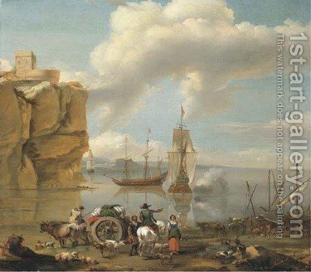 A coastal landscape with a horseman by (after) Abraham Jansz. Begeyn - Reproduction Oil Painting