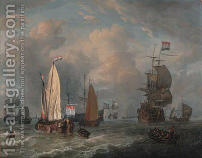 A smalschip, a boeier yacht, a Dutch frigate and other shipping in choppy seas by (after) Abraham Jansz Storck - Reproduction Oil Painting