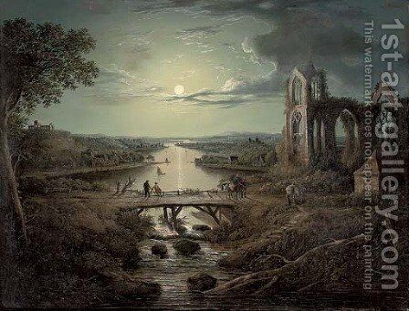 A moonlit view of the River Tweed with Melrose Abbey in the foreground and figures on a bridge by (after) Abraham Pether - Reproduction Oil Painting