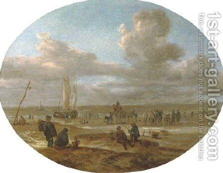 Fishermen trading on a beach with a sailing vessel in rough waters beyond by (after) Abraham Susenier - Reproduction Oil Painting