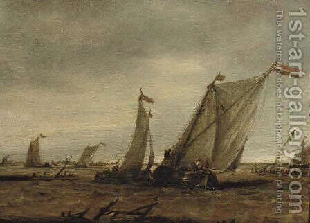 Fishing boats in choppy waters by (after) Abraham Van Beijeren - Reproduction Oil Painting