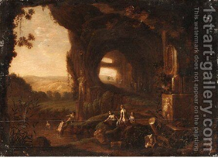 Nymphs bathing by a Grotto by (after) Abraham Van Cuylenborch - Reproduction Oil Painting
