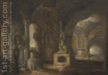 The interior of a grotto with figures amongst classical ruins and fountains by (after) Abraham Van Cuylenborch - Reproduction Oil Painting