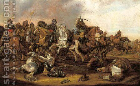 A cavalry skirmish by (after) Abraham Van Der Hoeff - Reproduction Oil Painting