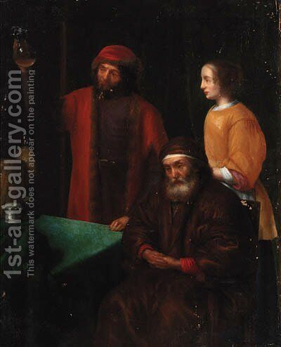 A doctor with an old man and his daughter in an interior by (after) Abraham Van Dyck - Reproduction Oil Painting