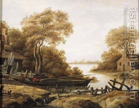 Fishermen in a pink moored by a river bank, in summer by (after) Abraham Van Westerveldt - Reproduction Oil Painting