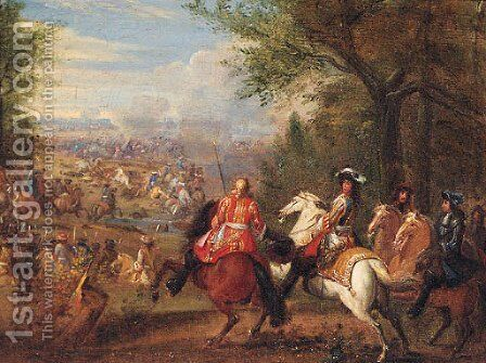 A military commander and generals observing a battle by (after) Adam Frans Van Der Meulen - Reproduction Oil Painting