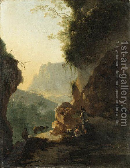 An Italianate landscape with peasants resting on a mountain path by (after) Adam Pynacker - Reproduction Oil Painting