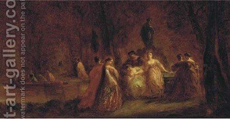 Fete champetre by (after) Adolphe Joseph Thomas Monticelli - Reproduction Oil Painting