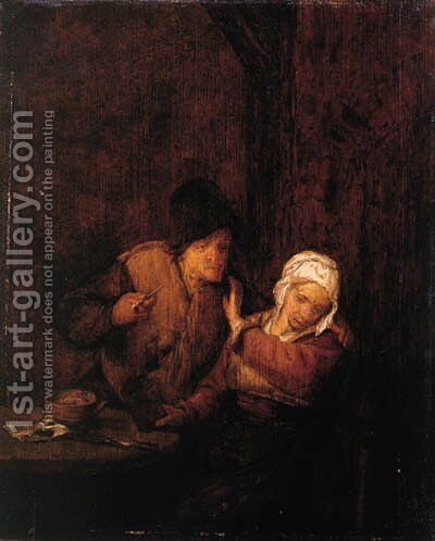A boor courting a maid in an inn by (after) Adriaen Jansz. Van Ostade - Reproduction Oil Painting