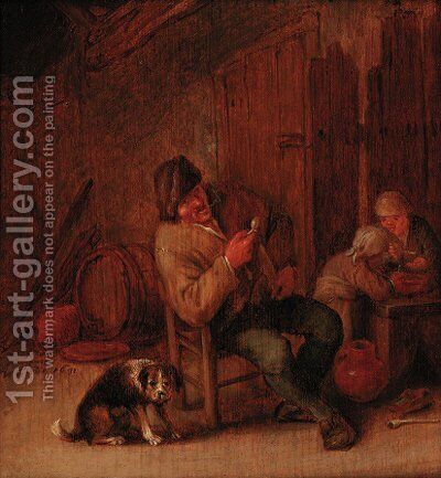 A boor smoking in an inn, with a dog and two children by (after) Adriaen Jansz. Van Ostade - Reproduction Oil Painting
