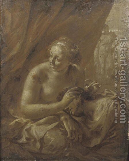 Samson and Delilah; 'en brunaille' by (after) Adriaen Van Der Werff - Reproduction Oil Painting