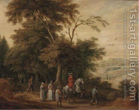 A wooded landscape with a cavalryman and other figures on a track by (after) Adriaen Van Stalbemt - Reproduction Oil Painting