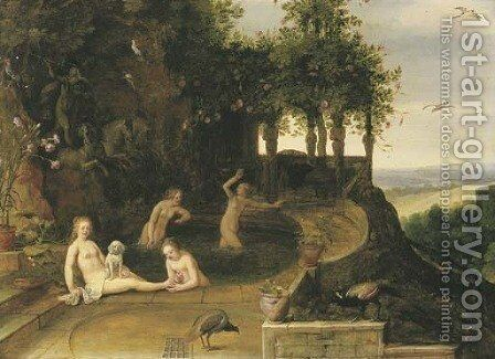 Diana and her nymphs bathing by (after) Adriaan Van Stalbemt - Reproduction Oil Painting