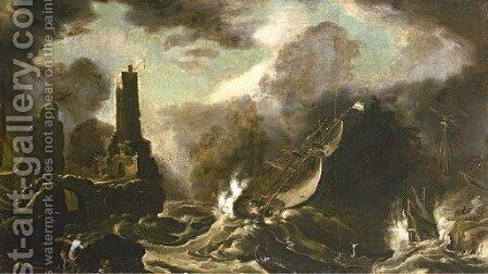 A stormy seascape with Jonah and the Whale by (after) Agostino Tassi - Reproduction Oil Painting