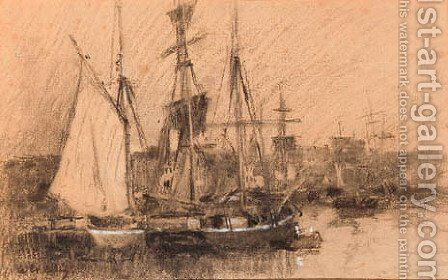 Ships in a French port by (after) Albert Lebourg - Reproduction Oil Painting