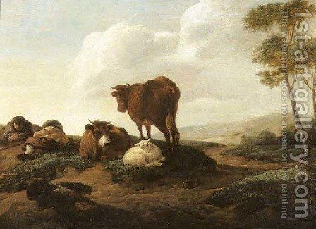 Cowherds resting by (after) Albert Jansz. Klomp - Reproduction Oil Painting