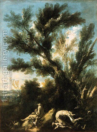 Camaldolese hermit monks in a wooded landscape by (after) Alessandro Magnasco - Reproduction Oil Painting