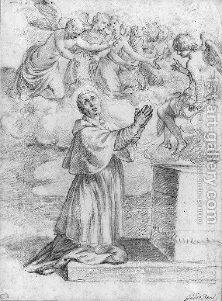 A Bishop Saint praying at an Altar with Angels above by (after) Alessandro Turchi (Orbetto) - Reproduction Oil Painting