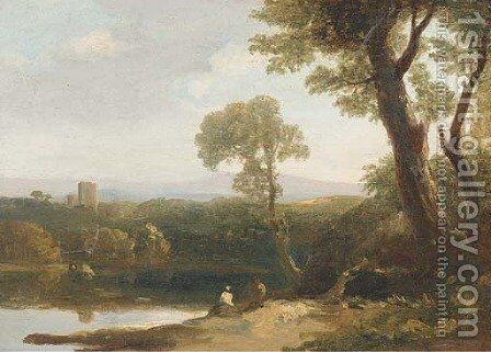Figures in an Italianate landscape by (after) Alexander Runciman - Reproduction Oil Painting
