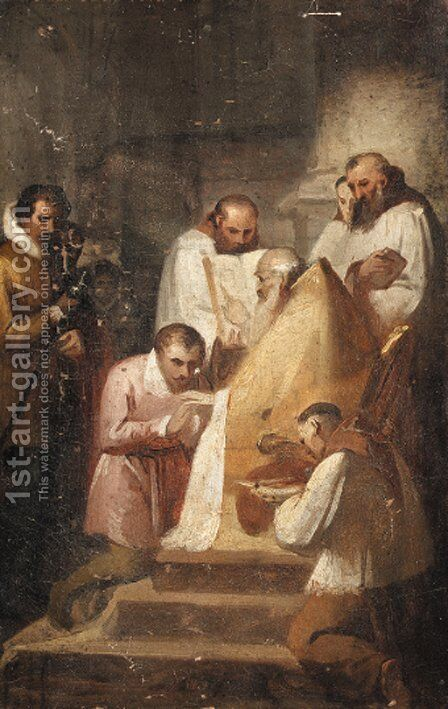 A bishop reading from a book with acolytes - a sketch by (after) Fragonard, Alexandre Evariste - Reproduction Oil Painting