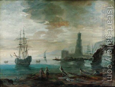 Figures at the waters edge and a sailing vessel at anchor with a castle beyond by (after) Alexandre-Jean Noel - Reproduction Oil Painting