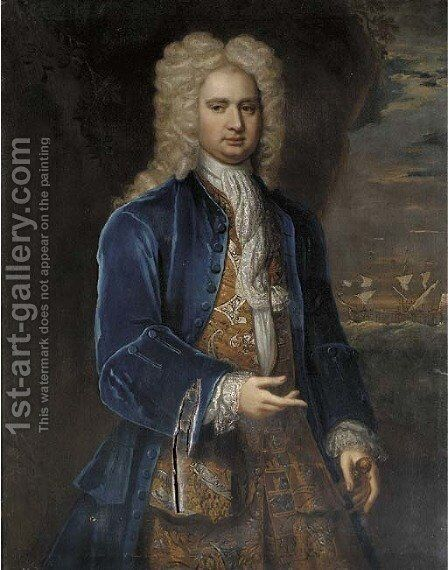 Portrait of Captain Hercules Baker (1689-1744) by (after) Alexis-Simon Belle - Reproduction Oil Painting