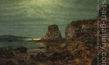 Fishermen in a moonlit coastal landscape by (after) Alfred Augustus Glendening - Reproduction Oil Painting