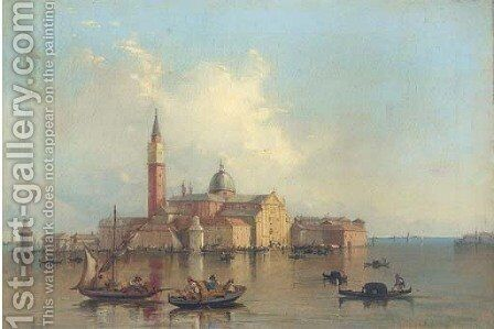 Gondolas on the Venetian Lagoon before San Giorgio Maggiore by (after) Alfred Pollentine - Reproduction Oil Painting