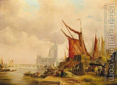 On the Embankment looking west to the Houses of Parliament by (after) Alfred Pollentine - Reproduction Oil Painting