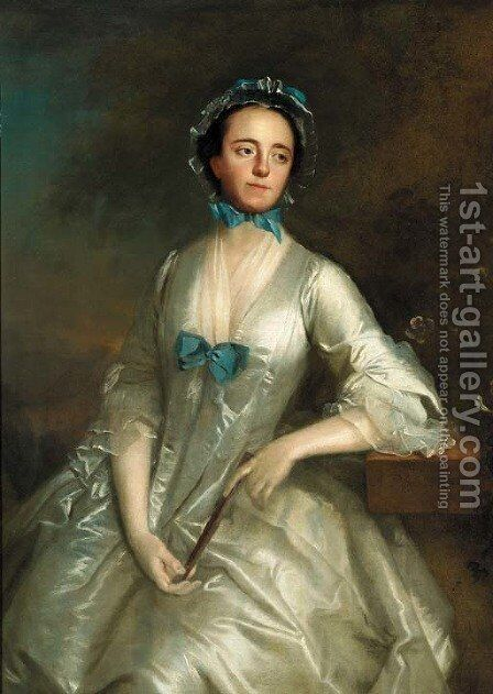 Portrait of a lady by (after) Allan Ramsay - Reproduction Oil Painting