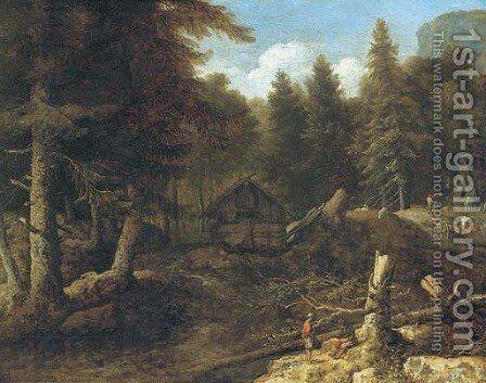 An extensive wooded landscape with woodmen in the foreground by (after) Allaert Van Everdingen - Reproduction Oil Painting