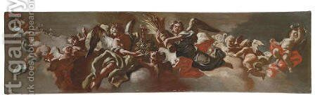 Allegory of Plenty a bozzetto for a ceiling decoration by (after) Andrea Dell'Asta Bagnoli - Reproduction Oil Painting