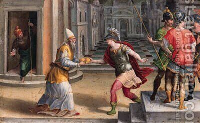 Saint Lawrence and the Roman Prefect by (after) Andrea Di Bartolo - Reproduction Oil Painting