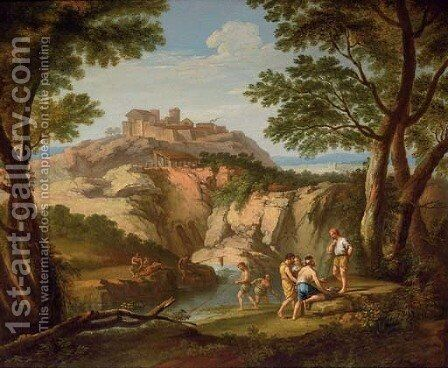 An Italianate river landscape with fishermen in the foreground and a hill town beyond by (after) Andrea Locatelli - Reproduction Oil Painting