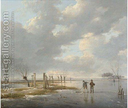 Fishermen cutting a hole in the ice by (after) Andreas Schelfhout - Reproduction Oil Painting