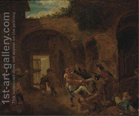 Peasants skirmishing in an alleyway by (after) Andries Dirsksz - Reproduction Oil Painting