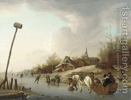 A winter landscape with skaters and a cart on a frozen river near a village by (after) Andries Vermeulen - Reproduction Oil Painting