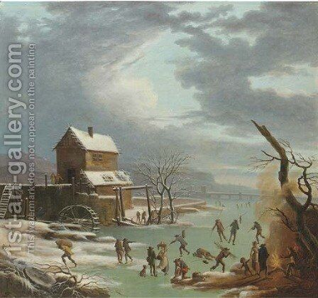 A winter landscape with skaters on a frozen canal, a house with a watermill nearby by (after) Andries Vermeulen - Reproduction Oil Painting