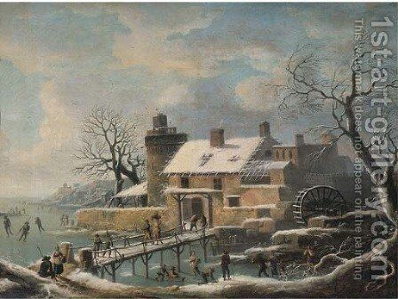 A winter landscape with skaters on frozen water and travellers on a bridge, a village with a watermill nearby by (after) Andries Vermeulen - Reproduction Oil Painting