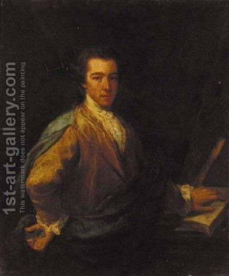 Portrait of a gentleman, three-quarter-length, in a brown coat and blue mantle, his left hand resting on a book by (after) Kauffmann, Angelica - Reproduction Oil Painting