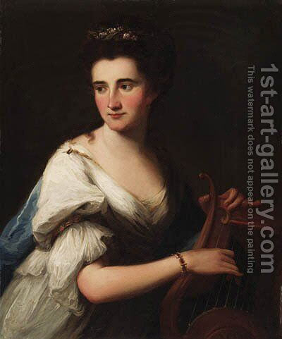 Portrait of Mrs. Cubley as Terpsichore, half-length, in a white dress and a blue wrap, playing a lyre by (after) Kauffmann, Angelica - Reproduction Oil Painting