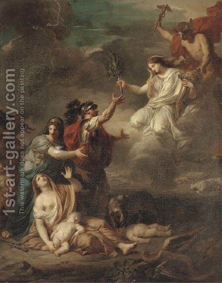 Mercury delivering Peace to the victims of war by (after) Anicet-Charles-Gabriel Lemonnier - Reproduction Oil Painting