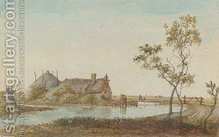 A farmhouse on a river bank by (after) Anthonie Erkelens - Reproduction Oil Painting