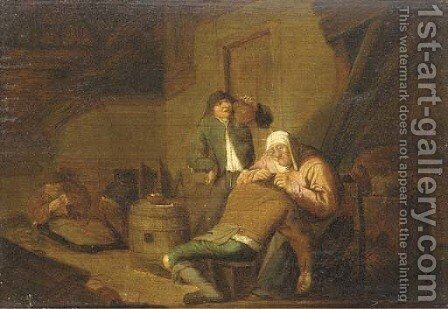 Peasants in a cottage interior by (after) Anthonie Victorijns - Reproduction Oil Painting